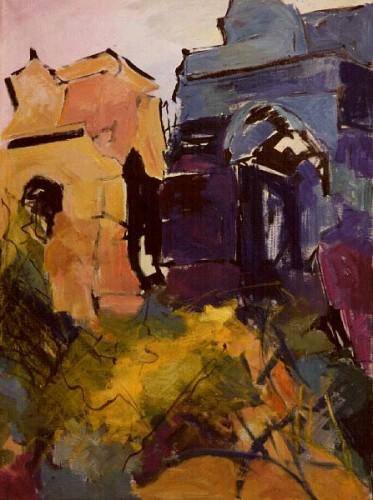 Fotograf: Eget fotoVærk  titel: Termossos - Tyrkiske grave Værk  type: Maleri Materiale: Acryl og olie på lærred Størrelse: 70x100 cm Færdiggjort: 1992 Placering: Privateje