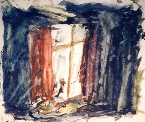 Fotograf: Eget fotoVærk  titel: Vinduet Værk  type: Akvarel Materiale: Akvarel på papir Størrelse: 40x48 cm Færdiggjort: 1995 Placering: Privateje