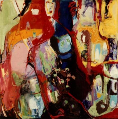 Fotograf: Jesper HoldgaardVærk  titel: Model i det grønne Værk  type: Maleri Materiale: Olie på masonite Størrelse: 122x122 cm. Færdiggjort: 1991 Placering: Privat eje