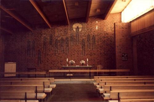 Fotograf: Eget fotoVærk  titel: Altervæg Værk  type: Murstensmosaik Materiale: Hårdtbrændt slaggesten Størrelse: 600 x 1200 cm Færdiggjort: 1966 Placering: Bistrup Kirke