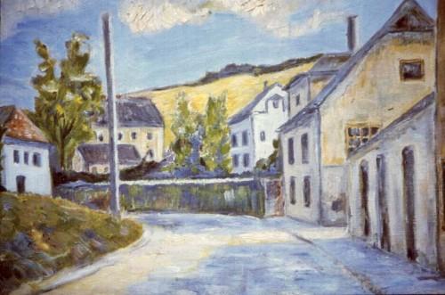 Fotograf: Børge HolmgrenVærk  titel: Sommerlandskab Værk  type: Maleri Materiale: Olie på lærred Størrelse: 54 x 65 cm Færdiggjort: 1975