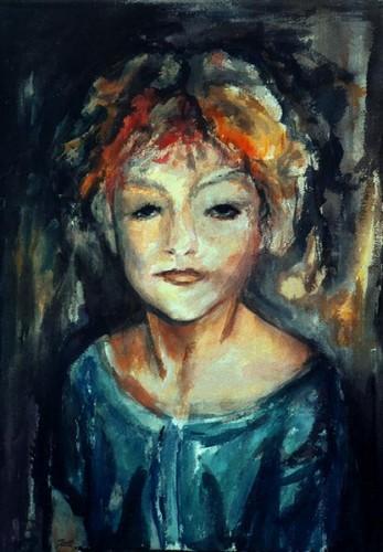 Fotograf: Eget fotoVærk  titel: Ann Sofie - lille kvinde Værk  type: Akvarel maleri Materiale: Akvarel på papir Størrelse: 72 x 53 cm Færdiggjort: 1993