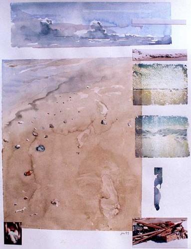 Fotograf: Eget fotoVærk  titel: Fodspor Værk  type: Akvarel Materiale: Akvarel på papir Størrelse: 48 x 36 cm Færdiggjort: 1999 Placering: Privat eje