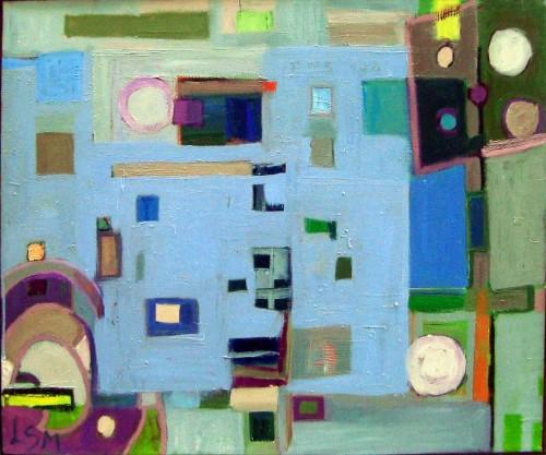 60 x 50 komposition m. lyseblåt