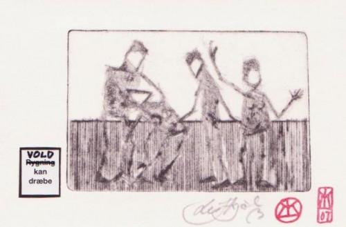 Farvelagt radering med påklæbet udsagn, 12x18cm