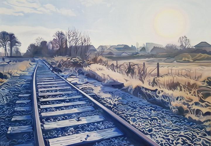 Vinterlandskab fra Møllestensgrunden i Randers. 70x100 cm. 7000 kr.
